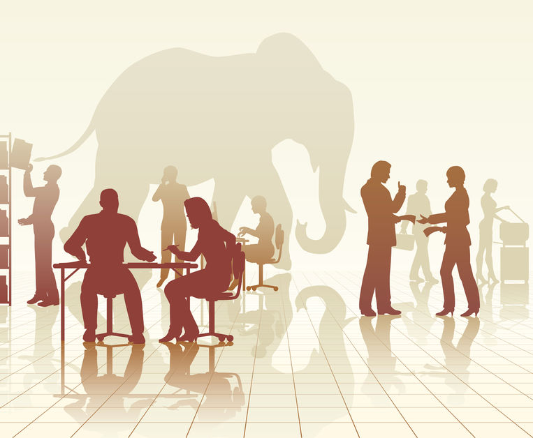 24908328 - editable vector silhouettes of an elephant in a busy office of people with reflections